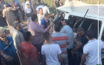 """إصابة 8 في حادث تصادم على طريق """"أجا – ميت غمر"""""""